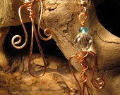 Hammered Copper Angel Earrings