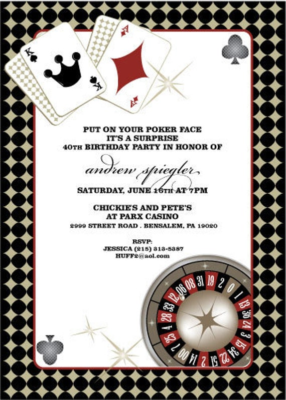 Casino Party Invitations CasinoTheme Party Invites