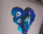 Fiber Treasure Heart Pin with a Feather...How Tweet It Is...
