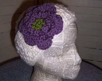 Large Rose Headband...Button in the Back...Purple and Ivory