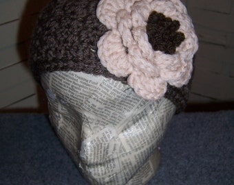 Large Rose Headband and Earwarmer...Button in the Back...Tan and Taupe