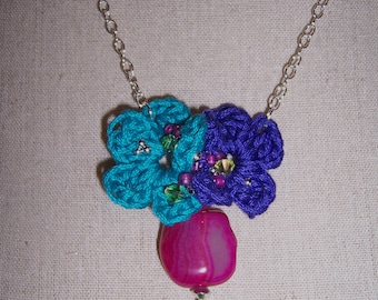 Flower and Gemstone Pendant Necklace.........Threes Company