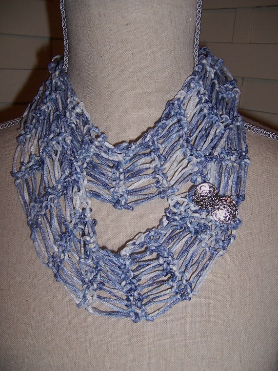 Knitted Endless Lace Scarf....Silky Silvery Blue and Beautiful