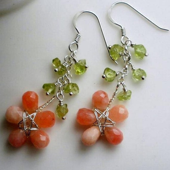 On SALE Strawberry Sherbet Jade and Peridot Wire wrapped Earrings Sterling Silver