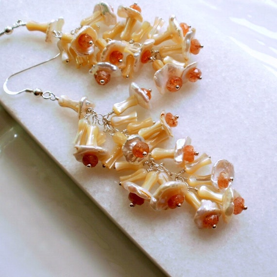 Sunstone, Keshi Pearl and Mother Of Pearl Long Flower Earrings in Sterling Silver