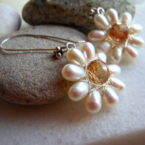 RESERVED White Pearls Mystic Quartz Feverfew Flower Earrings Wire Wrapped in Sterling Silver