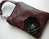 Red Burgundy Cabernet Leather Black Poppy Flower Cell Phone Galaxy Iphone Droid Gadget Case Zipper Camera Pouch Wristlet Small Purse