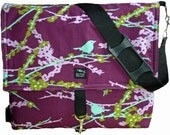 Birds Trees Leaves Green Purple Aqua Fabric Convertible Messenger Backpack Camera Computer Diaper Laptop Bag Optional Padded Pockets