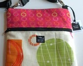 Geometric Circles Squares Orange Green Fabric Ipad Kindle Nook Cross Body Sling Crossbody Pouch Passport Bag Messenger Oodles Of Doodles