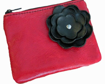 Berry Red Leather Zipper Coin Pouch with Black Flower Poppy
