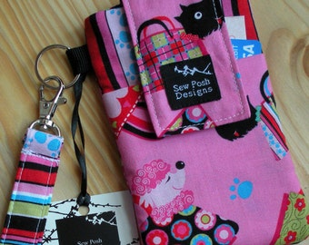 Dogs Puppies Paw Prints Stripes Pink Washable Fabric Iphone Galaxy Smartphone Cell Phone Zipper Pocket Camera Wristlet Pouch Sleeve Key Fob