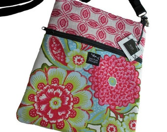 Pink Green Flowers Fabric Apple iPad  Kindle DX Nook Color E Reader Sleeve Passport Travel  Messenger Bag  Sling Purse