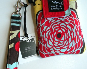Iphone Galaxy Smartphone Cell Phone Sleeve Funky Flowers Fabric Zipper Pocket Padded Wristlet Key Fob Case Front Pocket