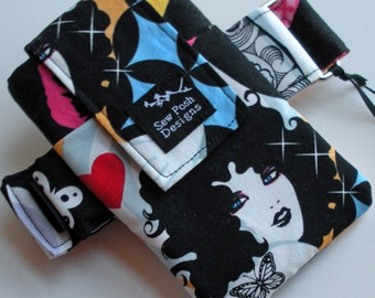 Tattoo Ladies Biker Punk Goth Retro Funky Fabric  Armband Arm Band Washable Iphone Galaxy Zipper Pocket Cell Phone  Pouch Waterproof Lining
