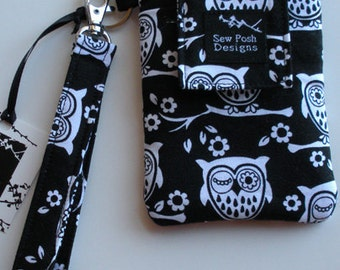 Owls Black White Fabric Iphone Galaxy Cell Phone Case Sleeve Padded Wristlet Key Fob Case Zipper Front Pocket Washable