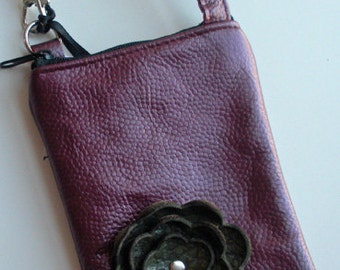 Raspberry Wine Leather Olive Green Poppy Flower Cell Phone Galaxy Iphone Droid Gadget Camera Case Zipper Pouch Crossbody Sling Small Purse