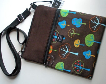Kawaii Trees Forest Fabric iPad Kindle DX Fire Nook Tablet Color E Reader Sleeve Passport Travel Washable Messenger Bag  Sling Purse