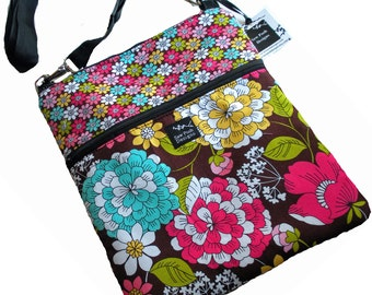 Ready to Ship Tropical Flowers Daisies Fabric iPad Kindle Nook E Reader Passport Travel Messenger Bag Sling Washable Late Bloomer