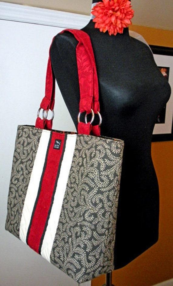 SALE READY 2 SHIP Black Red Vines 2 in 1 Convertible Diaper Hobo Bag Purse Shopper Weekeender Tote Bag Handbag