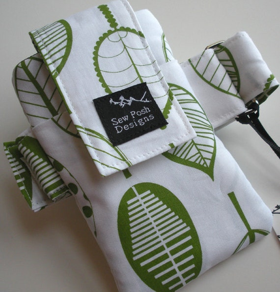 Organic Eco Leaves White Green Fabric Washable Ipod Touch Iphone Armband Gadget Cell Phone Case Pouch Waterproof Lining
