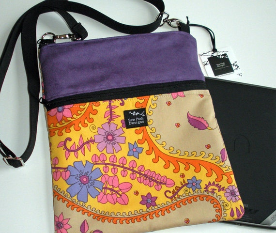 Ipad Mini Kindle Nook Color E Reader Passport Sleeve Sling Messenger Travel Bag Purse Retro Funky Flowers Purple Faux Suede Washable Fabric