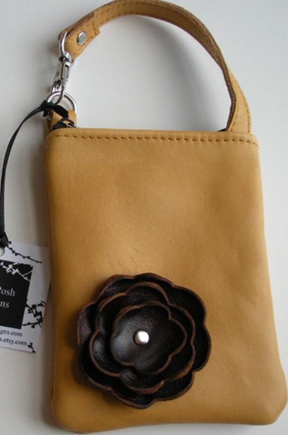 Honey Dijon Yellow Gold Leather Mahogany Brown Poppy Flower Cell Phone Galaxy Iphone Crossbody Gadget Case Wristlet Small Purse Zipper Pouch