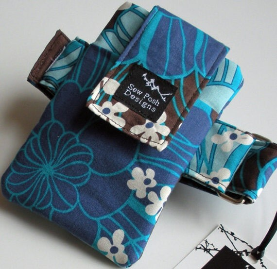 Blue Brown White Funky Flowers Fabric Retro Funky Armband Washable Ipod Touch Iphone Gadget Cell Phone Case Pouch Waterproof Lining