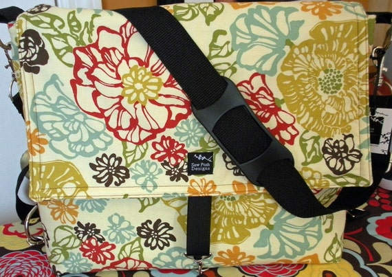 Last One Convertible 2 in 1 Retro Red Blue Brown Flowers Fabric Backpack Diaper School Computer Camera Stroller Bag-Afternoon Delight