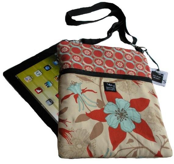 Red Cream Beige Aqua Flowers Dewberry Fabric iPad Kindle Nook Color E Reader Passport Travel Messenger Bag Sling Washable