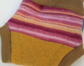 Recycled wool soaker - wool cloth diaper cover - Autumn Color Splash soaker with wool interlock trim - MEDIUM (9-18 Months)