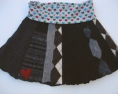 LADIES Sweater SKIRT - Adult scrappy upcycled wool skirt - Queen of Hearts Meets Punk Rock - SMALL (size 6-ish) Sale