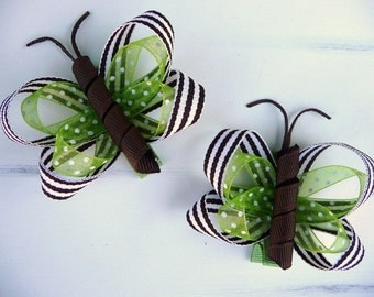 Brown, Lime, and White Little Missy Hair Butterfly