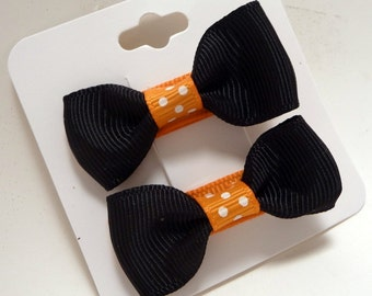 Halloween Sassy Sissy Hair Clippies Black with Orange