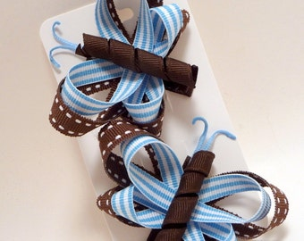 Blue and Brown Little Missy Hair Butterfly Set