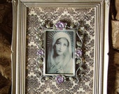 Shabby French Elegant Our Lady in the Violets Upcycled Wall decor OOAK