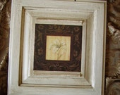 French Country Cottage wall Decor Ivory Lily on Black Elegant OOAK, shabby, distressed