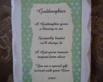 Goddaughter Inspirational Sign with Original Poem