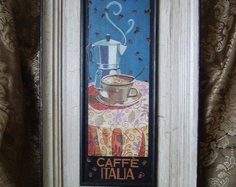 Recycled Shabby Cottage Wall Decor with Coffee Cafe Italia, antiqued, crackled, white, distressed