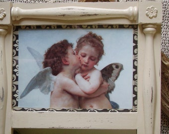 Shabby and Chic mirror with picture Kissing Angels OOAK