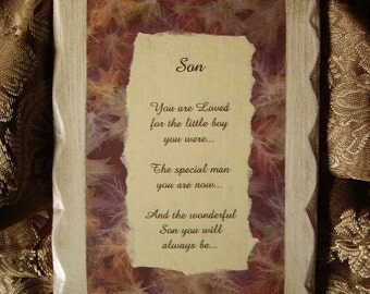 Son Poem, Vintage Look Plaque with Poem for Son, brown, antiqued white, leaf background