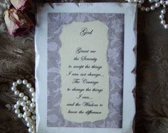 Prayer of Serenity, Shabby and chic Vintage Look Wall Prayer, small plaque