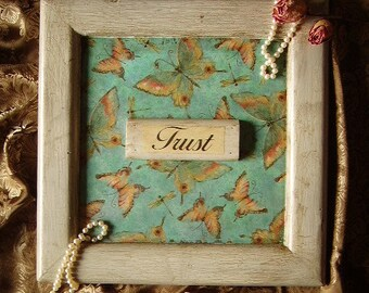 Shabby and Chic Vintage Look Wall Art , TRUST OOAK Recycled wood