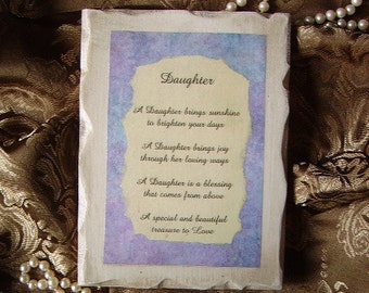 Daughter Inspirational Sign with Poem Personalize/customize