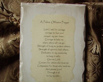 Police Officers Prayer Plaque, antiqued white, distressed, shabby
