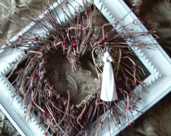 Grapevine  Heart Twig Wreath with  Angel  Praying Accent/ red pip berries