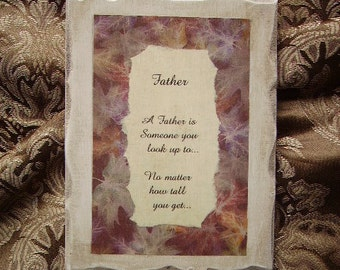 Father poem, Vintage Look Plaque with Inspiration for Father, Father gift, antiqued white, brown