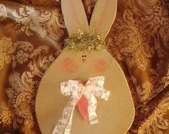 Shabby Cottage, Pudgy Primitive Bunny, Spring Decor, Easter, Little girls room, Cottage nursery