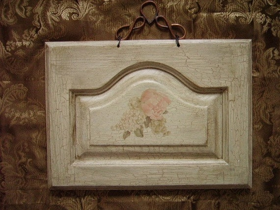 Shabby and Chic Country Cottage Pink Peony on Door Panel Art OOAK