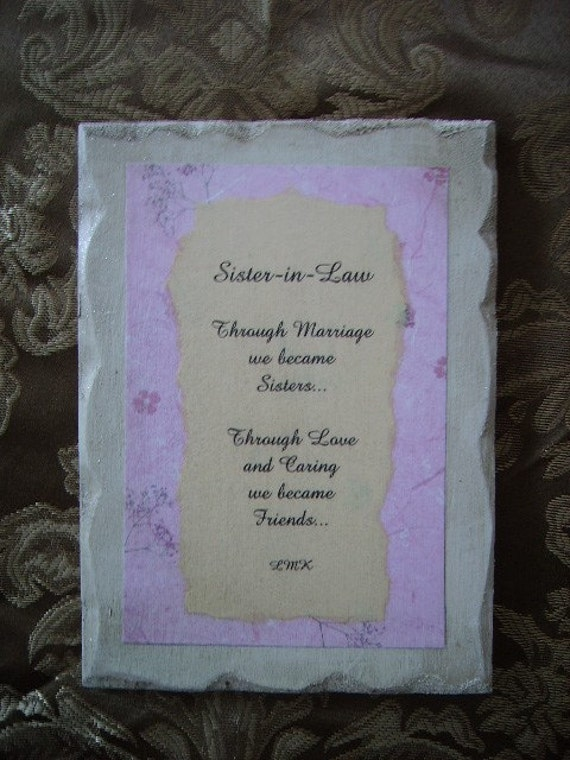 Shabby Chic Plaque For Sister In Law Original Poem