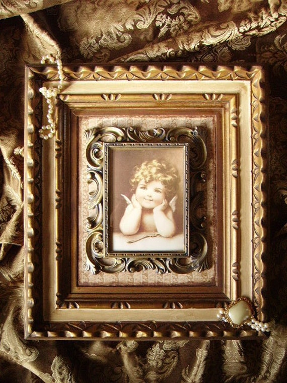 Baroque Elegant Cupid Wall Art Upcycled OOAK ivory bronze
